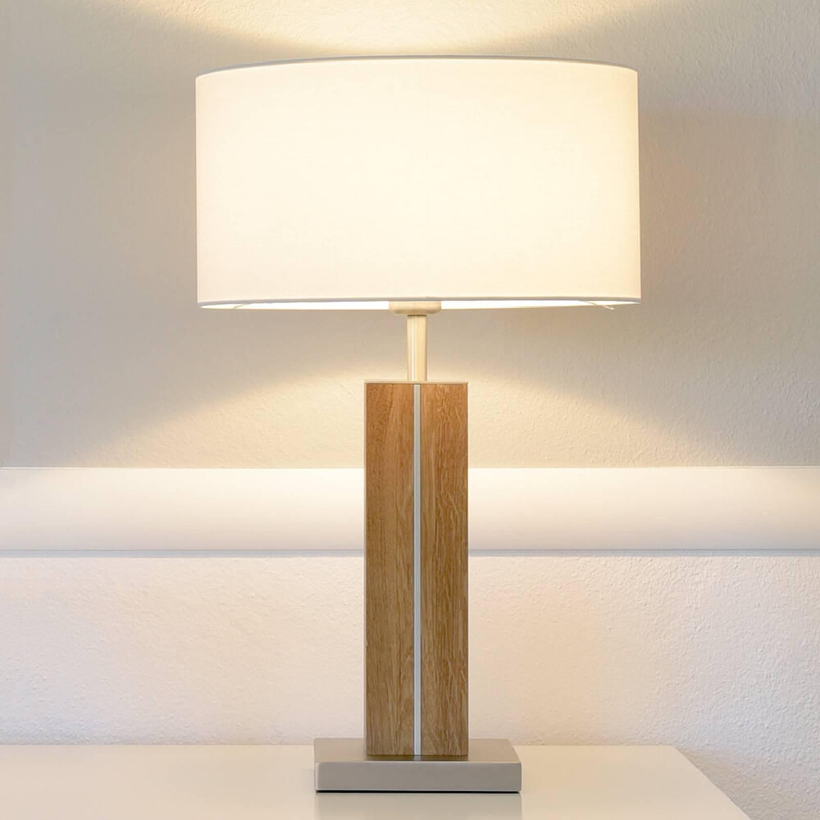 HerzBlut Dana tafellamp eiken geolied hoogte 56 cm