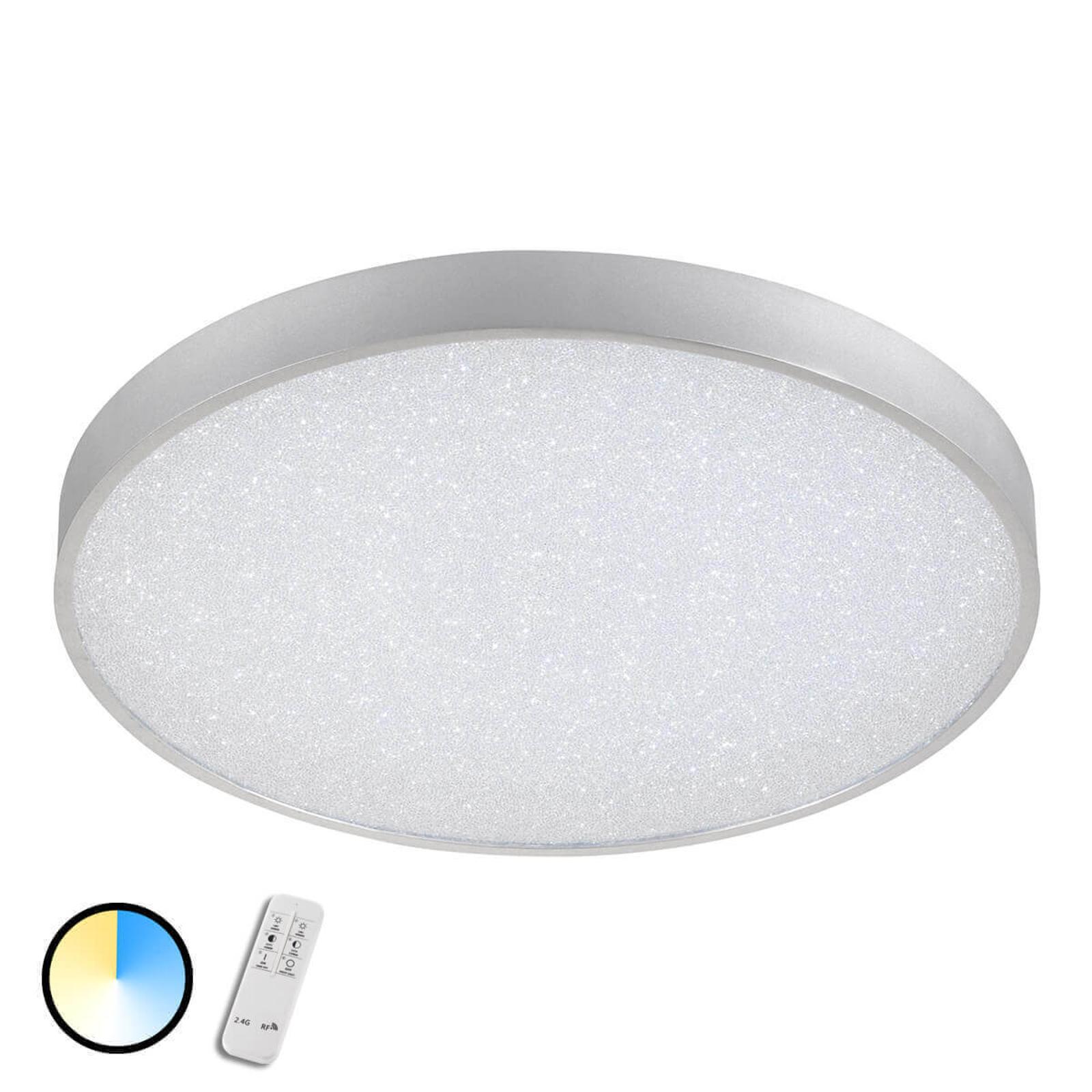 LED-taklampe Glam, rund, med fjernkontroll