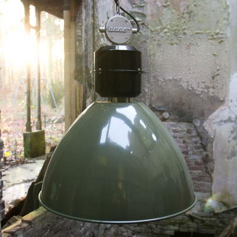 Lámpara colgante Frisk verde en diseño industrial