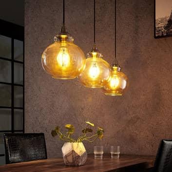 Lindby Tymoni glas-pendellampa, bärnsten, 3 lampor