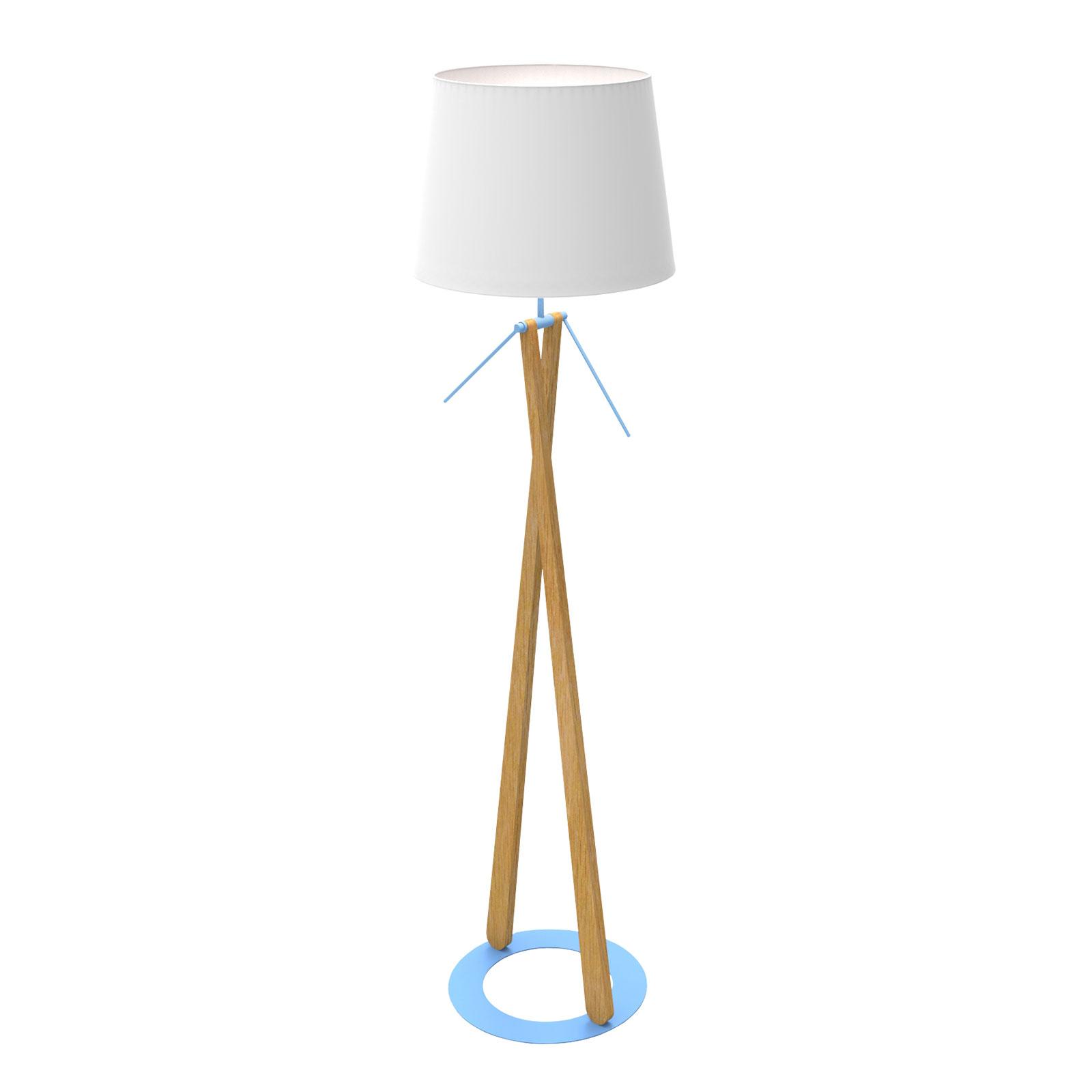 Vloerlamp Zazou LS, textiel-kap, blauwe lamphouder