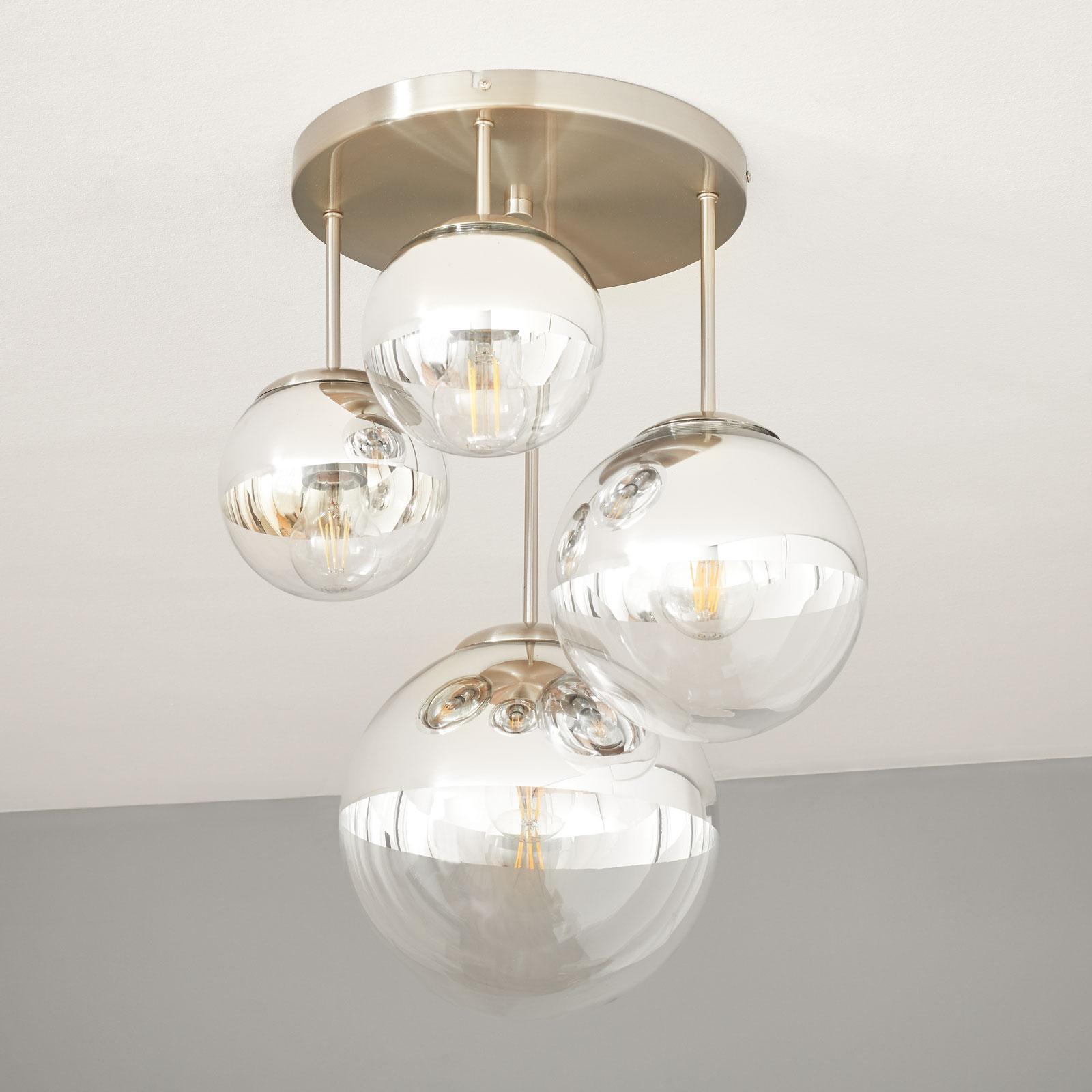 Taklampe Ravena med kuler, 4 lyskilder