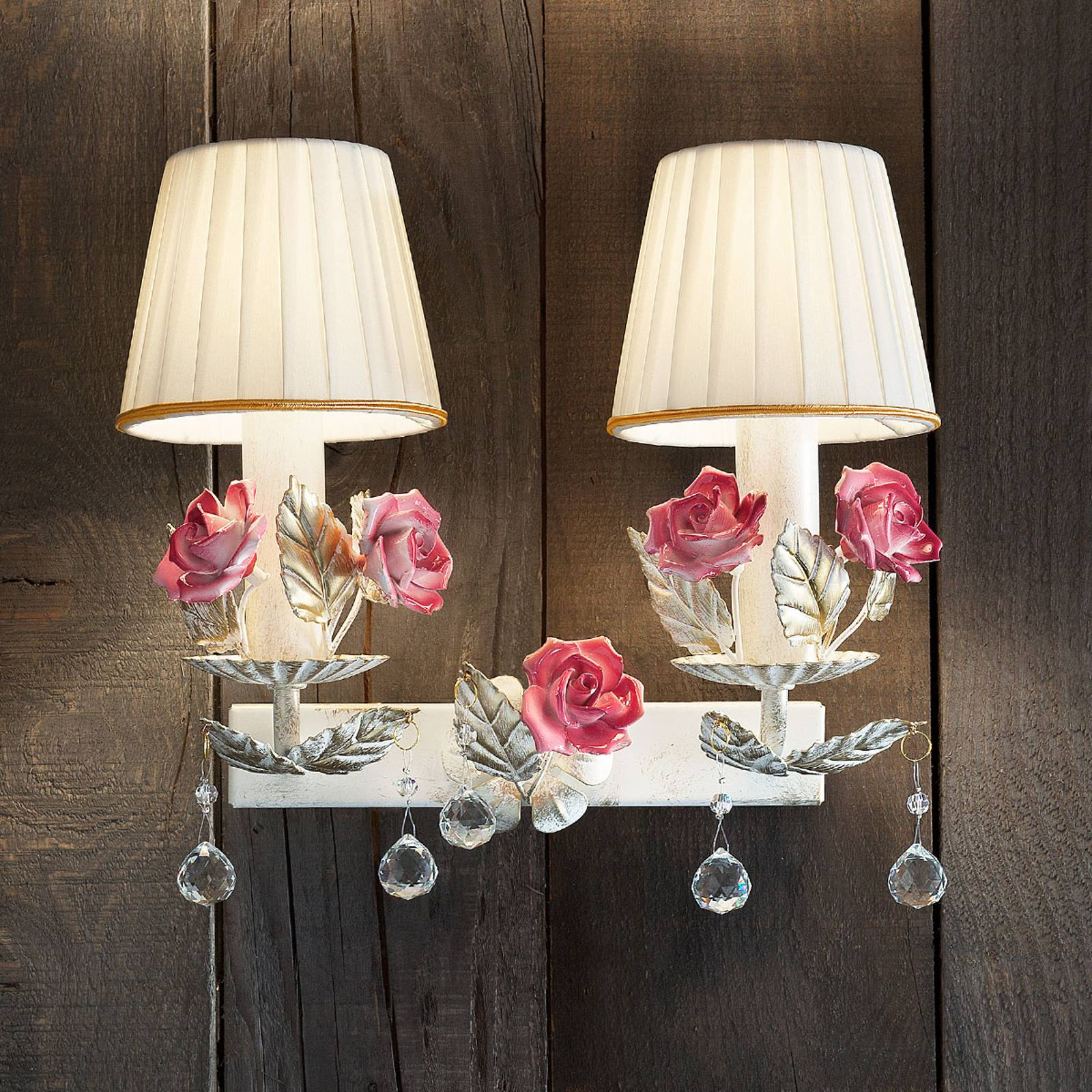 Wandleuchte Fiore mit Rosenblüten 2flammig