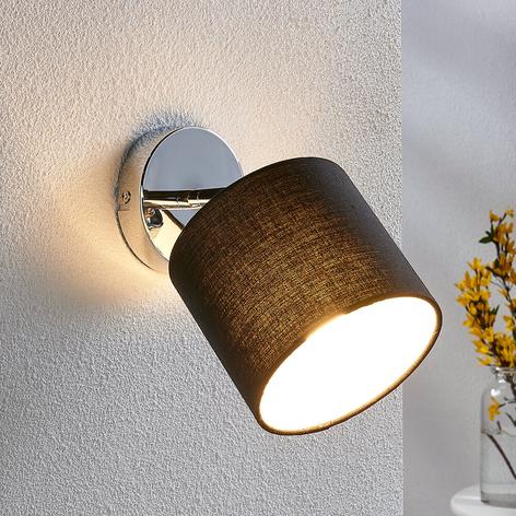 Nástěnné LED světlo s textilním stínidlem v černé