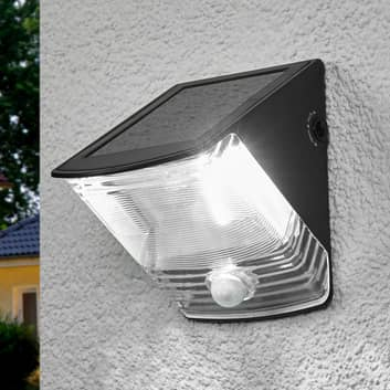 Soldriven LED-vägglampa SOL 04 med IP44 svart