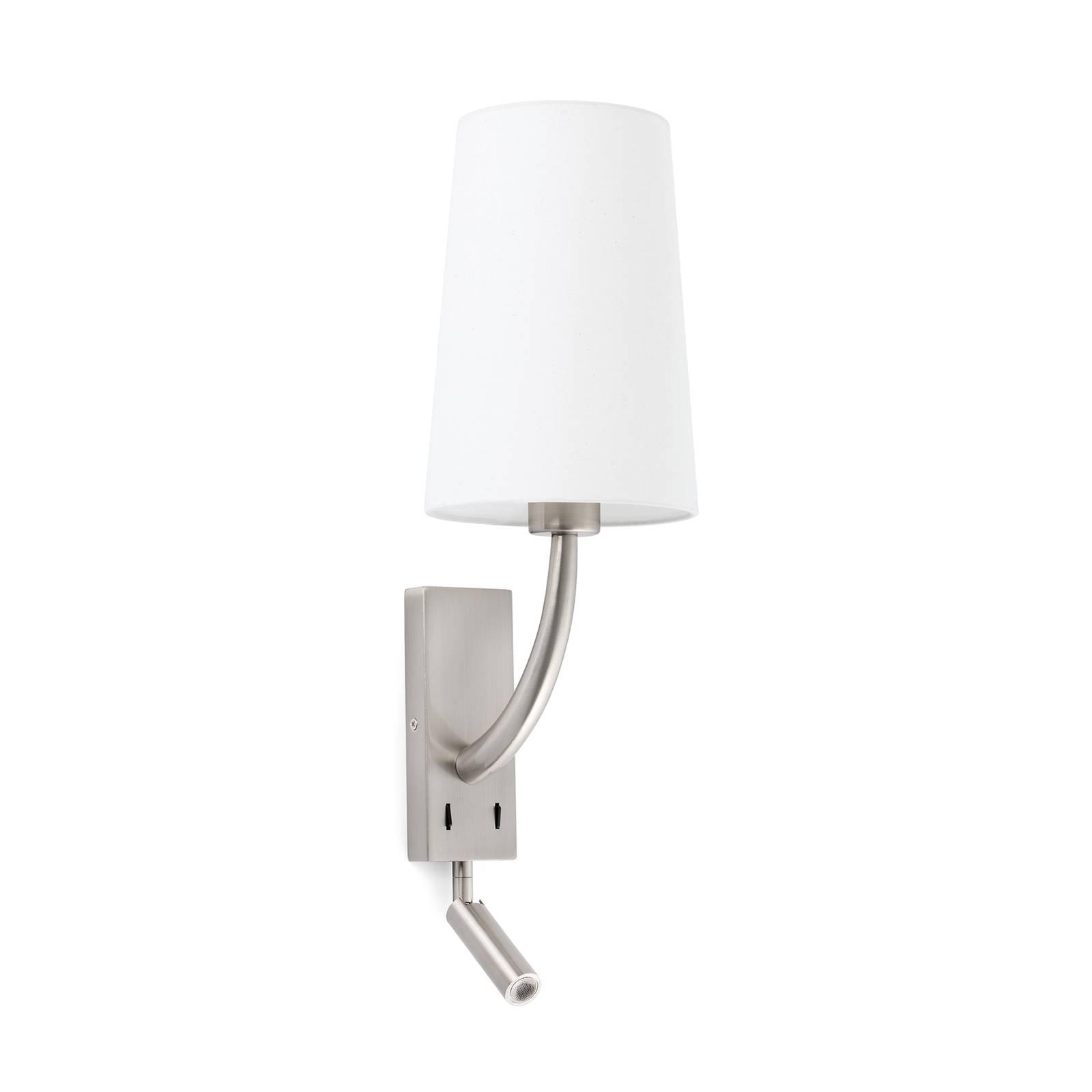 Wandleuchte Rem mit LED-Leseleuchte, weiß/nickel