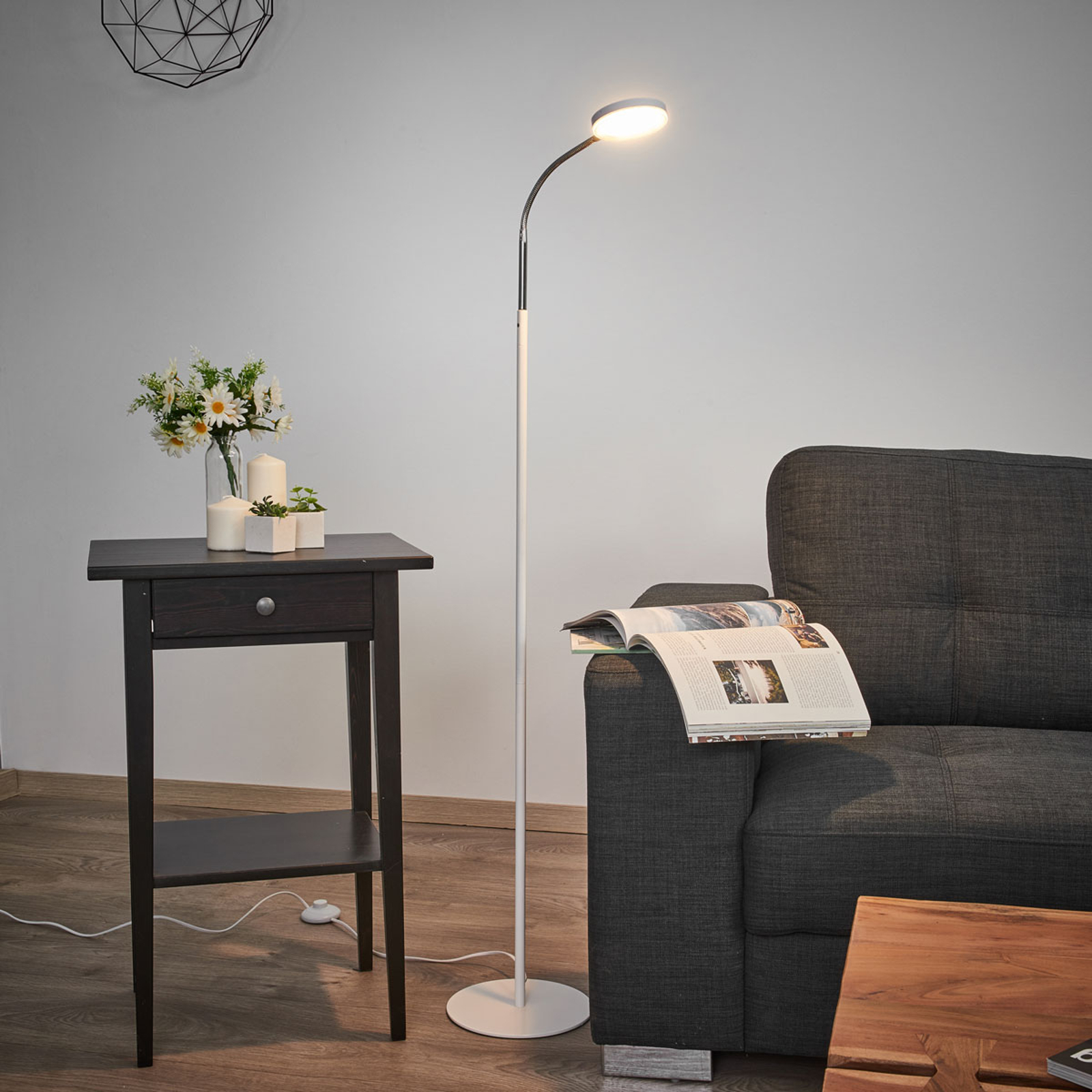 Milow - lampa stojąca LED, elastyczna szyjka