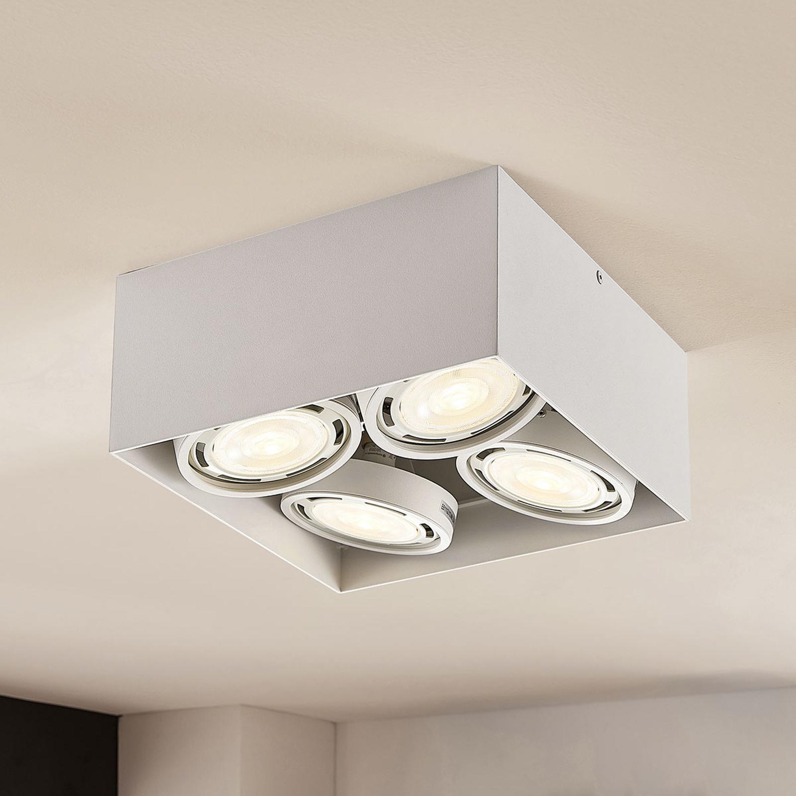 LED downlight Rosalie dimbaar hoekig 4-lamps wit