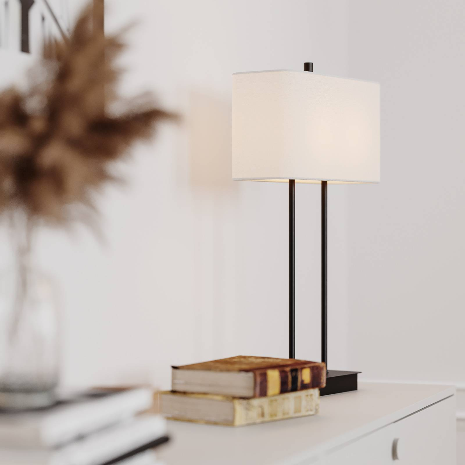 By Rydéns Luton tafellamp, wit/zwart, 56cm