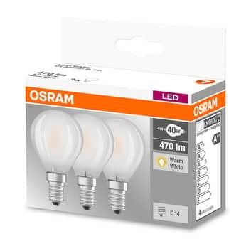 LED-lampa E14 4W, varmvit, 470 lumen, 3-pack