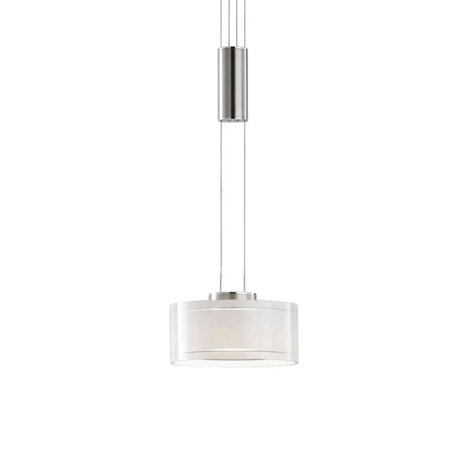 Suspension LED Lavine, à 1 lampe nickel/blanche