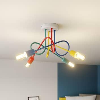 Plafón Oxford 4 luces, brazos de colores