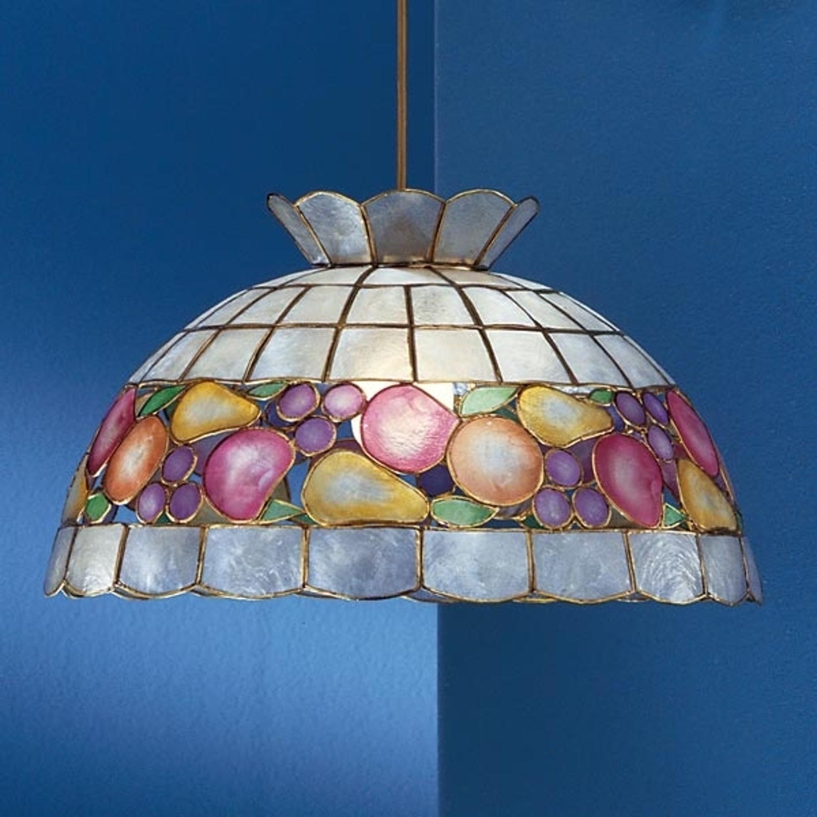 Lampa wisząca OLIVIA w stylu Tiffany z masy perł.