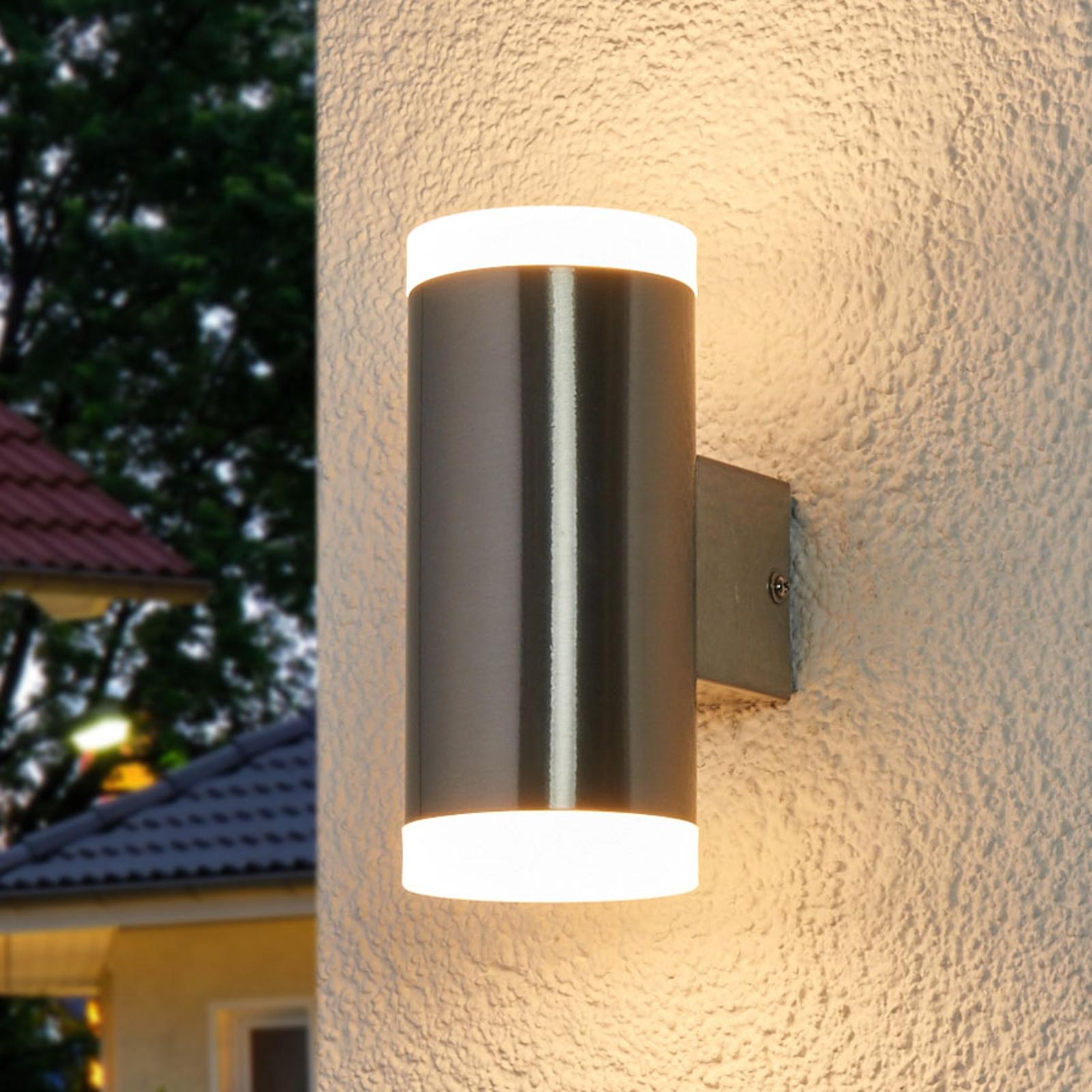 LED-utevegglampe Eliano, rustfritt stål, 2 lys.
