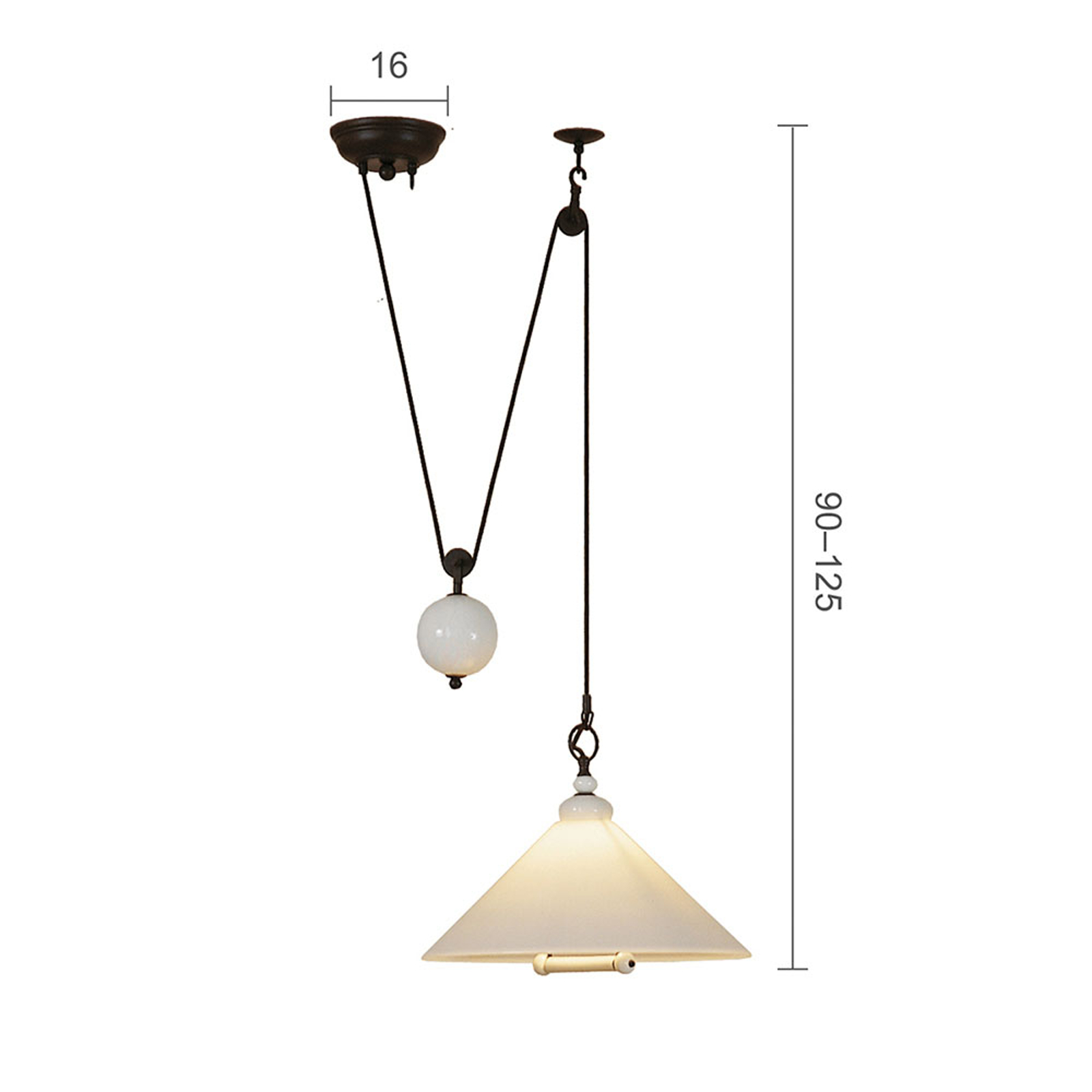 Menzel Provence La Maison hanglamp kap opaal Ø39cm