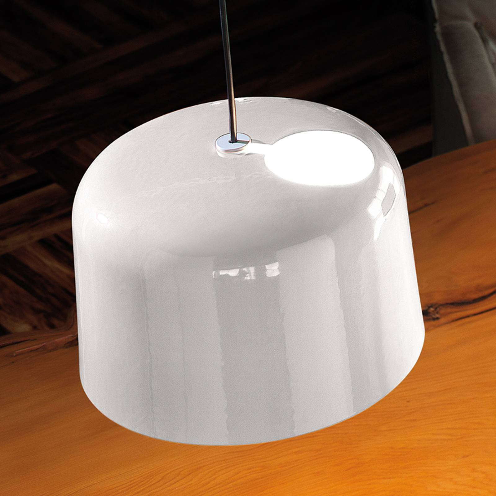 Wit glanzende keramiek-hanglamp Add