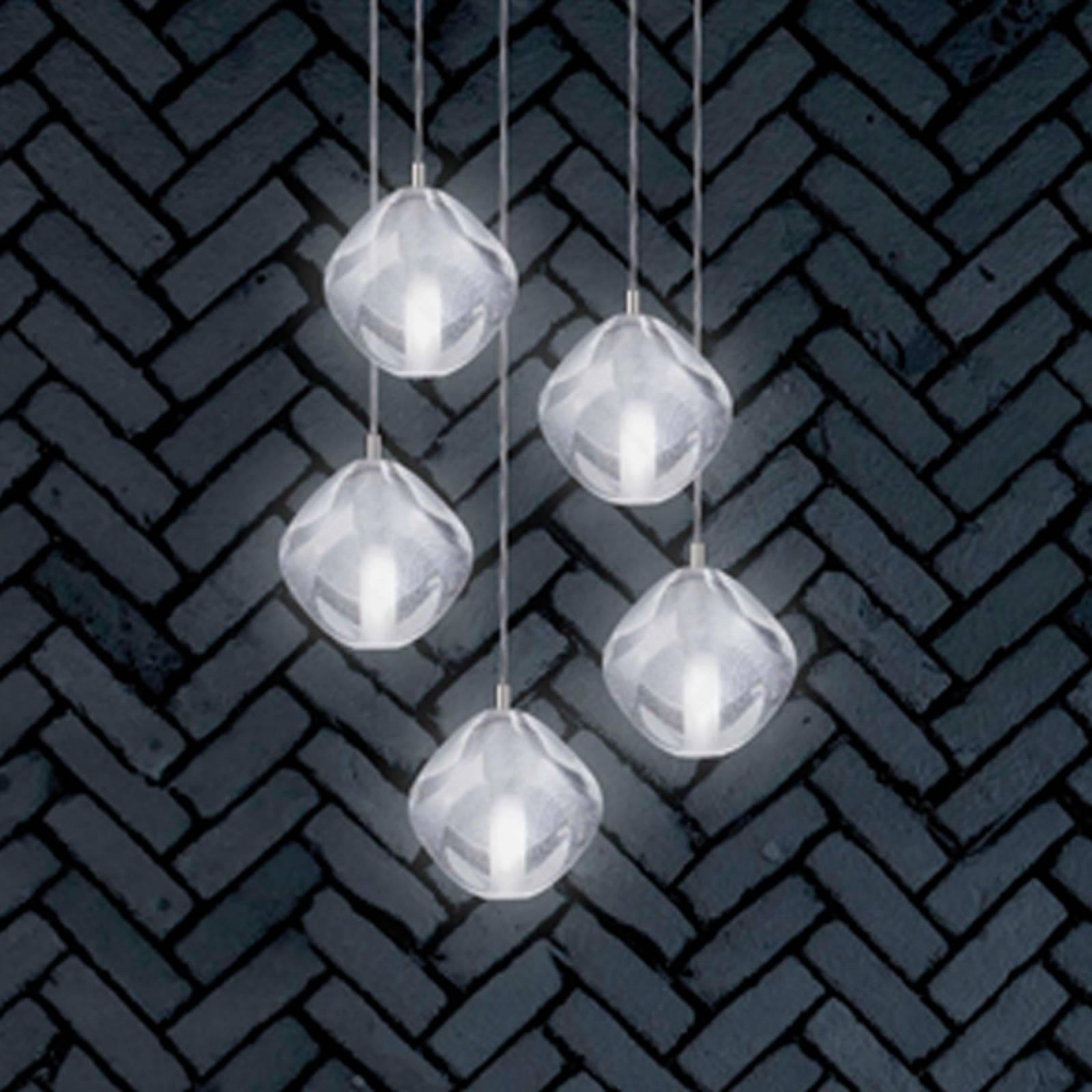 Hanglamp Glace van glas, 5-lamps
