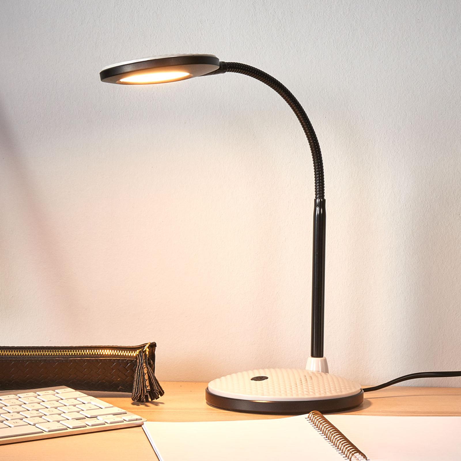Lámpara de mesa LED Ivan en gris claro y negro