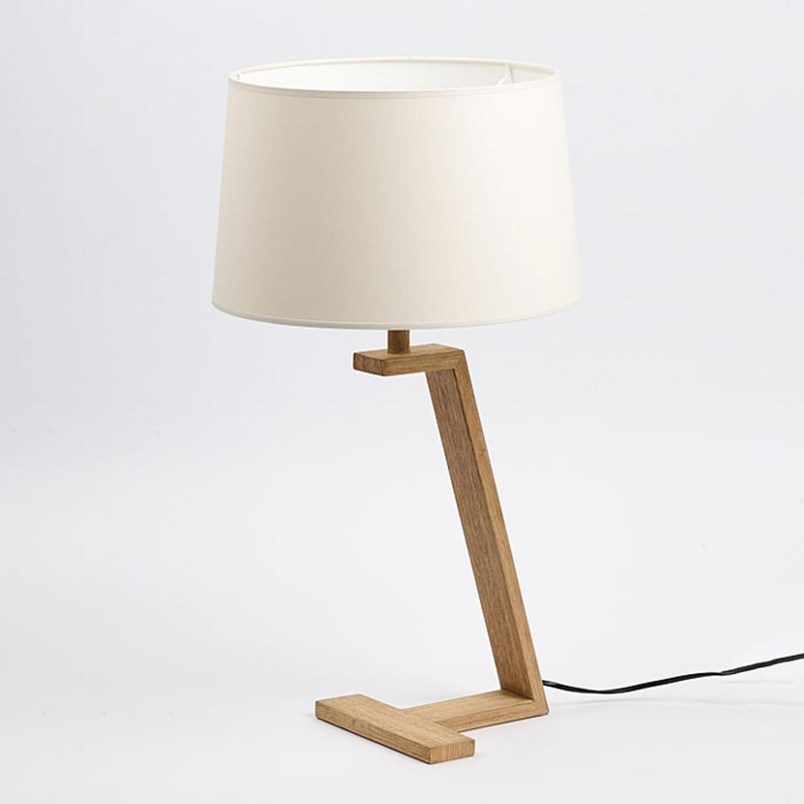 Lampe à poser Memphis LT en bois et tissu, blanche