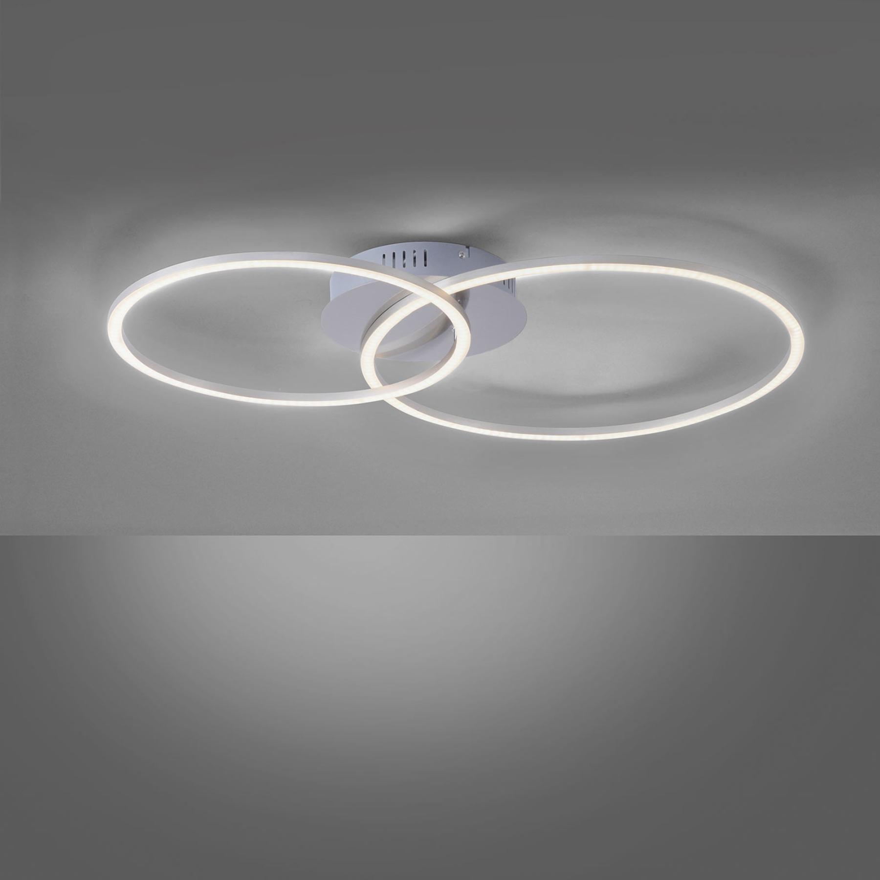 LED-Deckenleuchte Ivanka, zwei Ringe, stahl