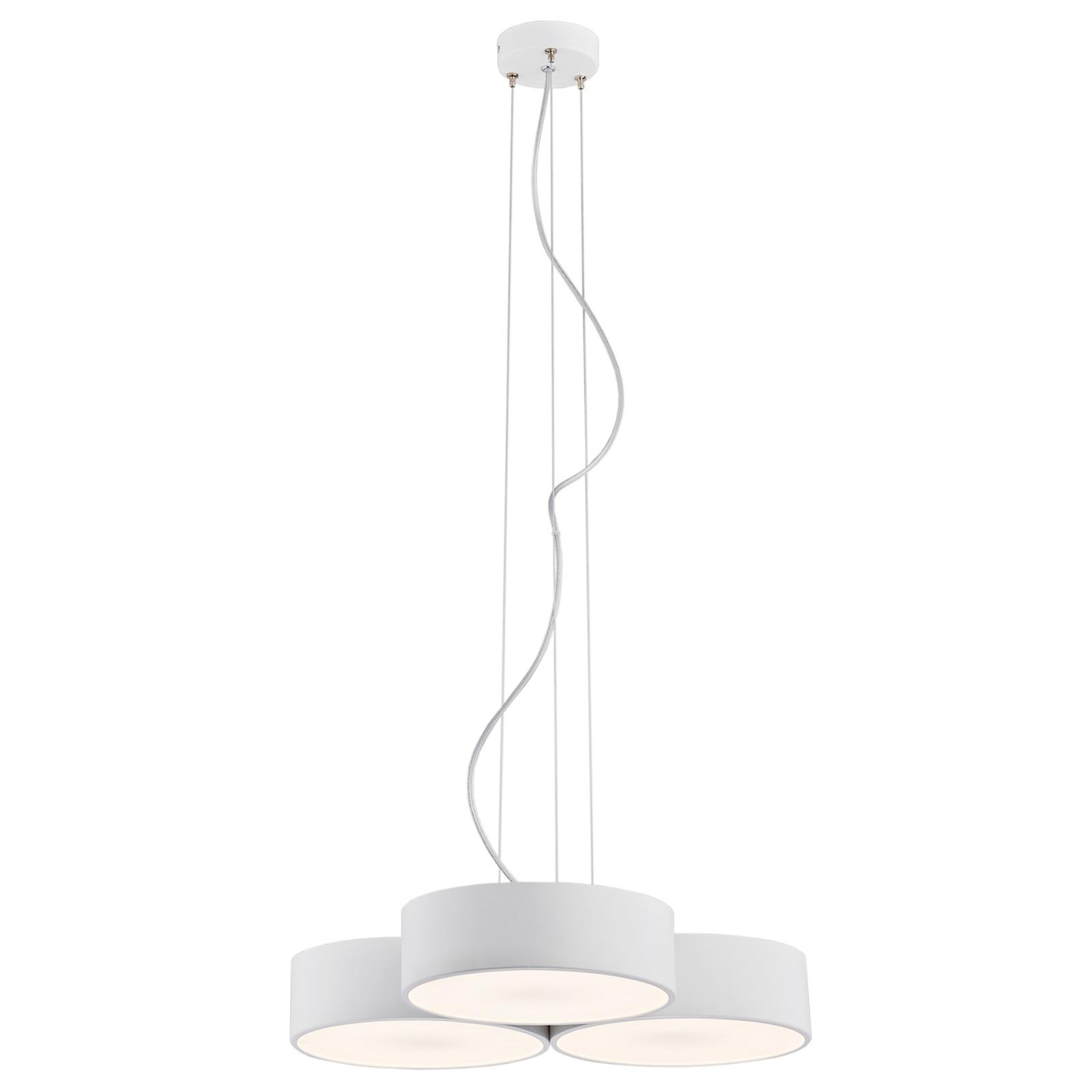 LED-hengelampe Dayton, 3 lyskilder, hvit