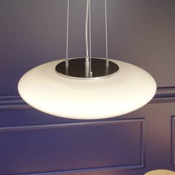 Lampada a sospensione LED Gunda, vetro bianco