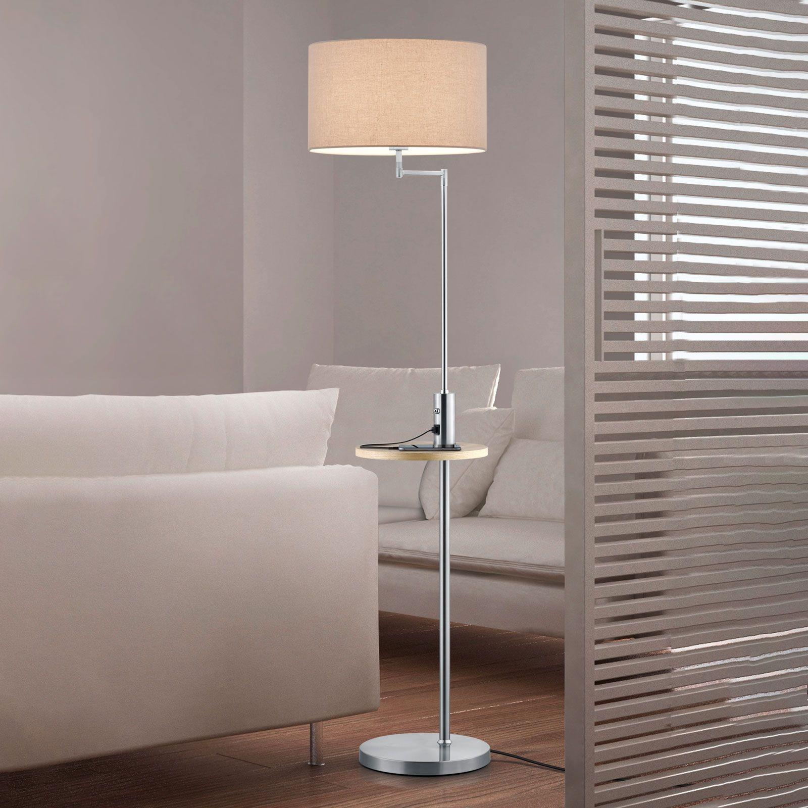 Vloerlamp Claas, legbord, USB-poort, nikkel