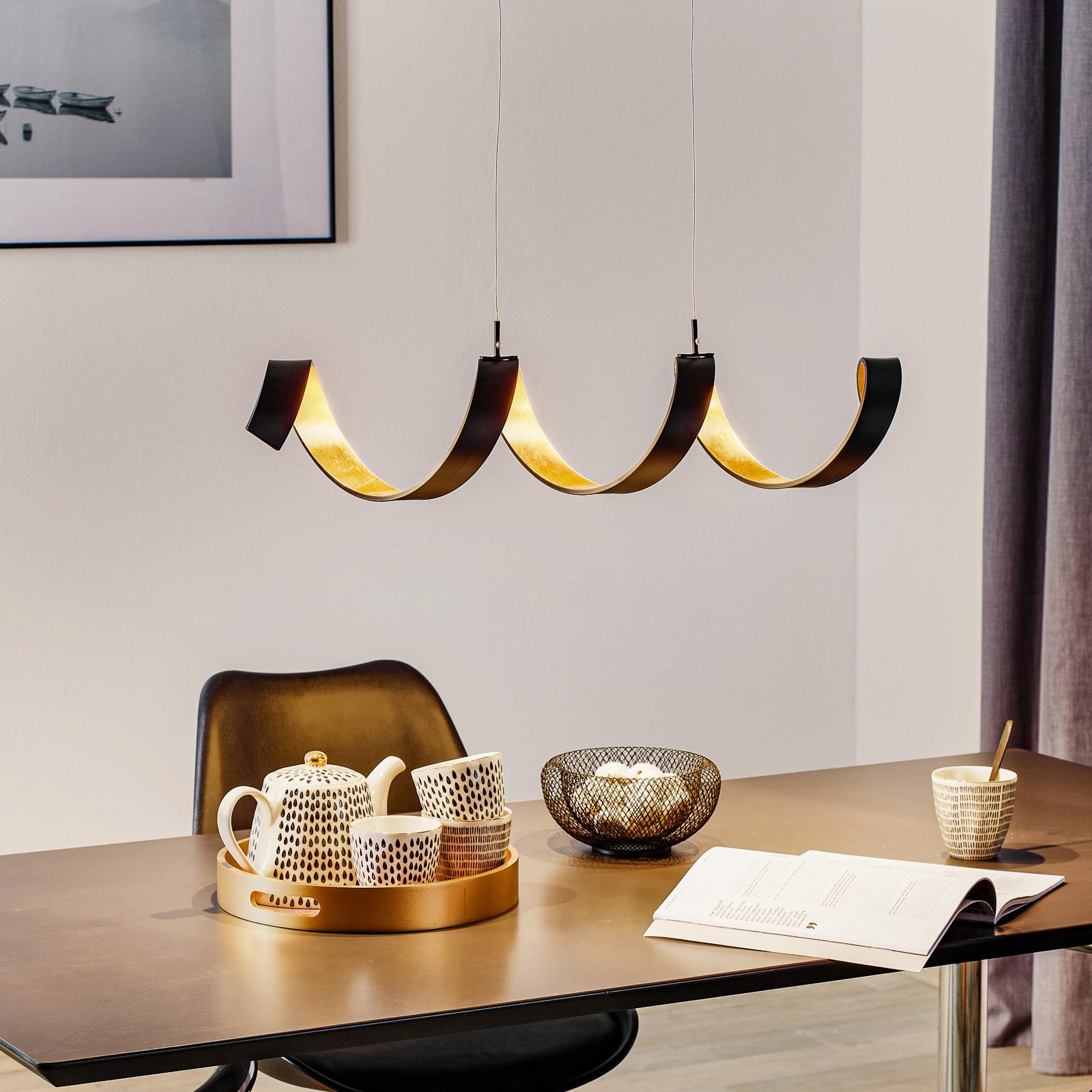 LED-hengelampe Helix, svart-gull, 80 cm