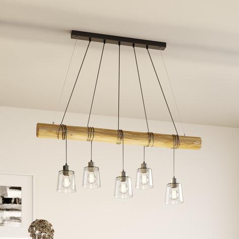 Suspension Karrl à 5 lampes, transparente/brune
