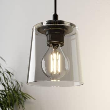 Hänglampa Lucea 1 lampa med glasskärm rökgrå