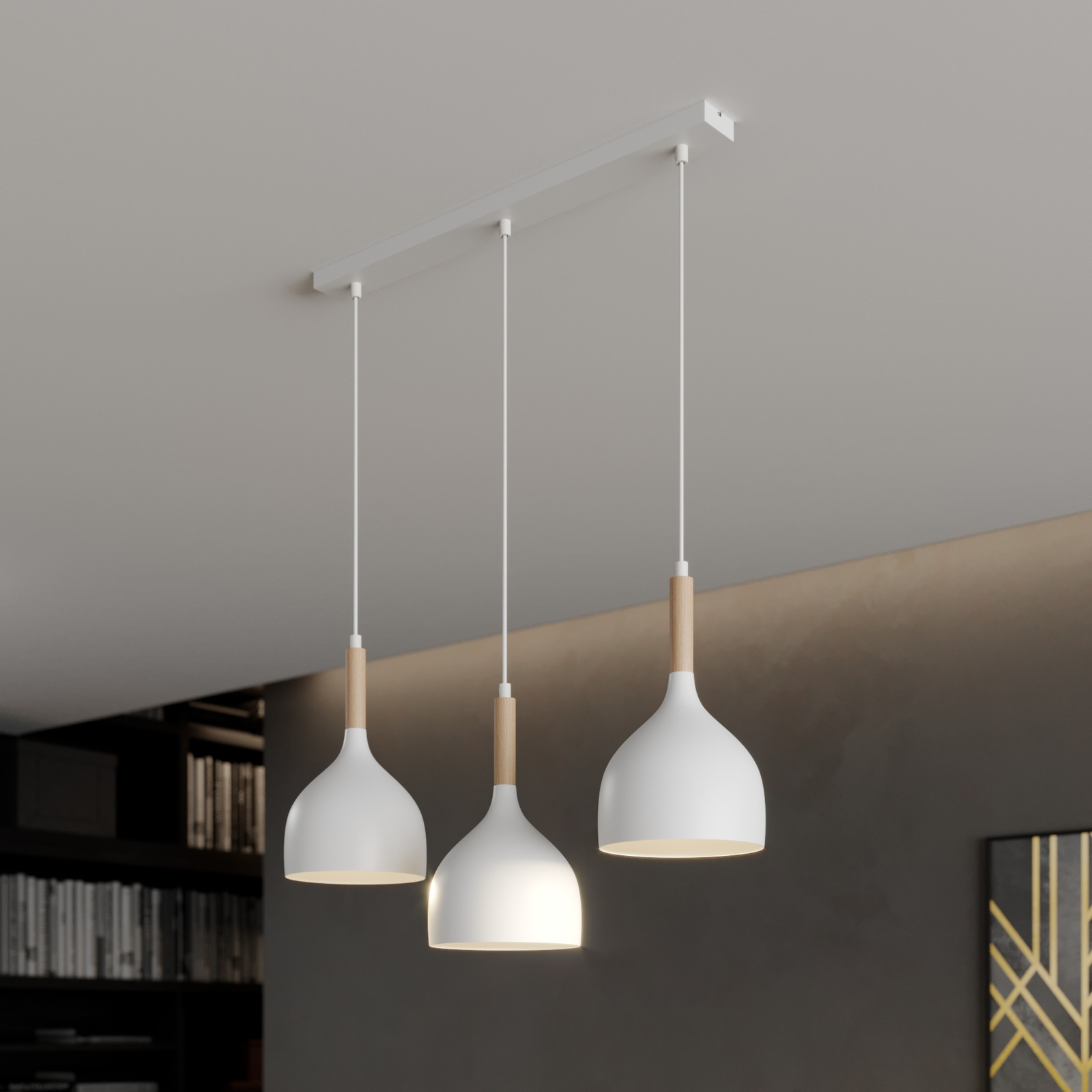 Hanglamp Noak 3-lamps lineair wit/hout natuur