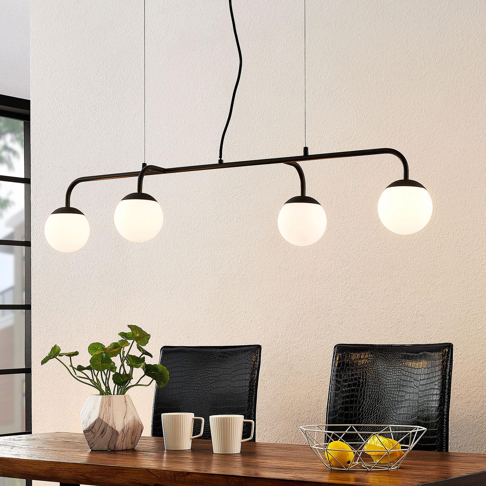 Lucande Rama LED-pendellampe med glasskjermer
