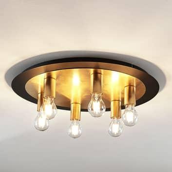Lámpara de techo de metal Justik, 6 luces, negro