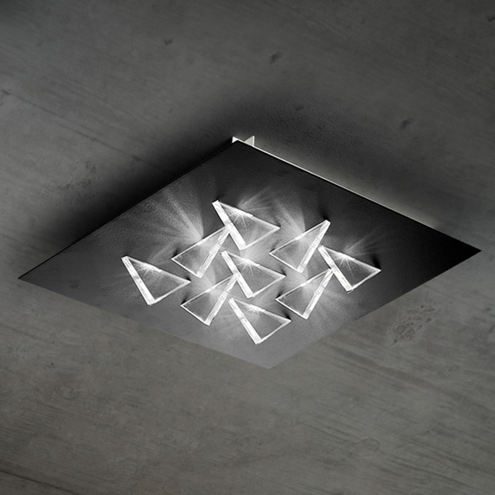 Połyskująca lampa sufitowa LED Cristalli, czarna