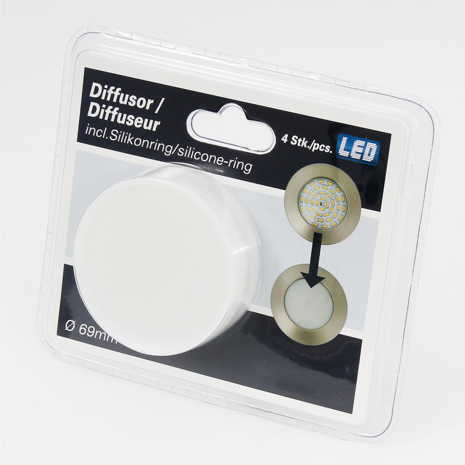 Diffusoropzet voor inbouwlampen 6,9 cm 4 per set