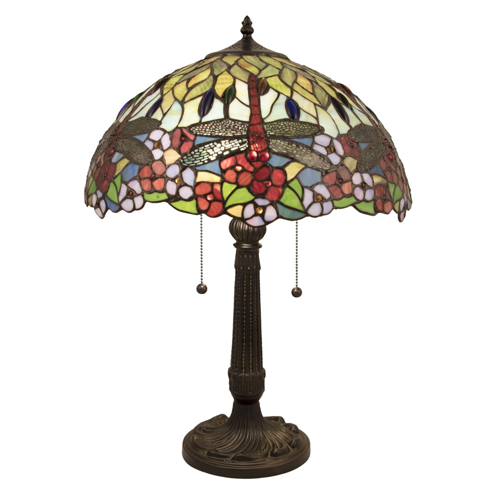 Tischlampe 5947 mit buntem Glasschirm