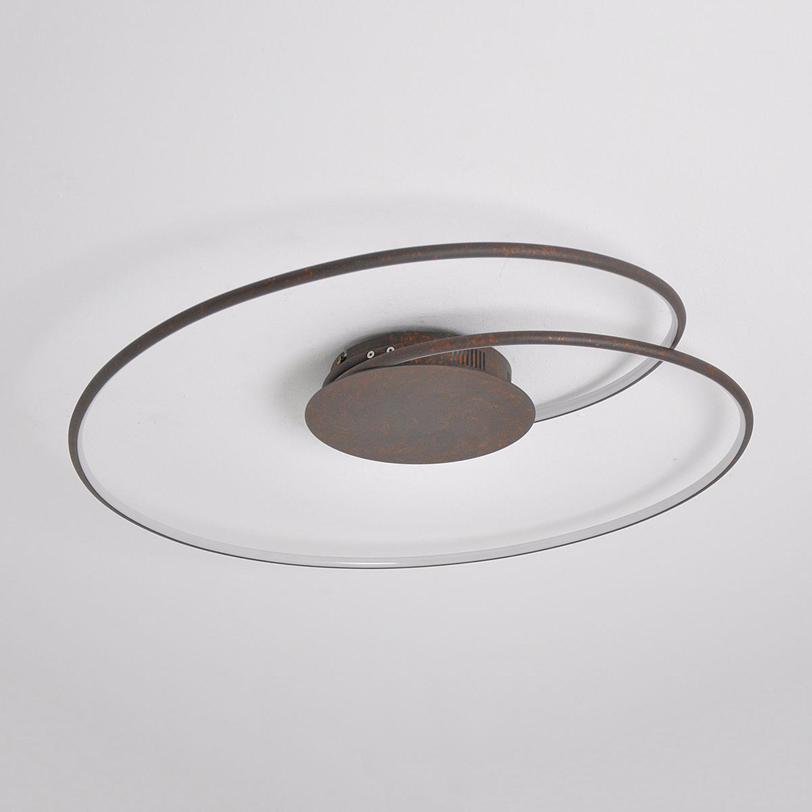 Hermoso plafón LED Joline en marrón óxido