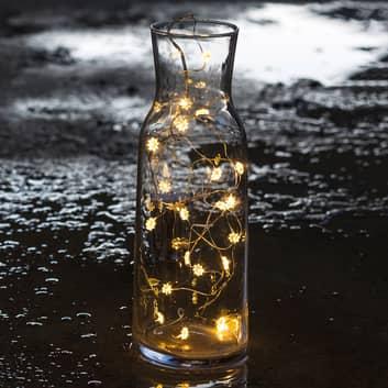 Flott blomsterlyslenke Silke med LED-lys, 20 lys