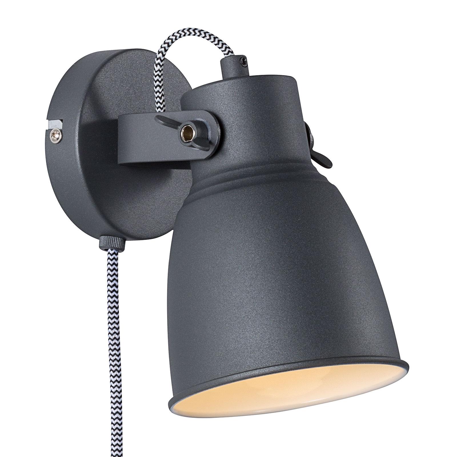 Wandlamp Adrian met kabel en stekker, zwart