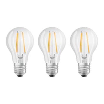 OSRAM LED-Lampe E27 Classic Fil. 840 6,5W klar 3er