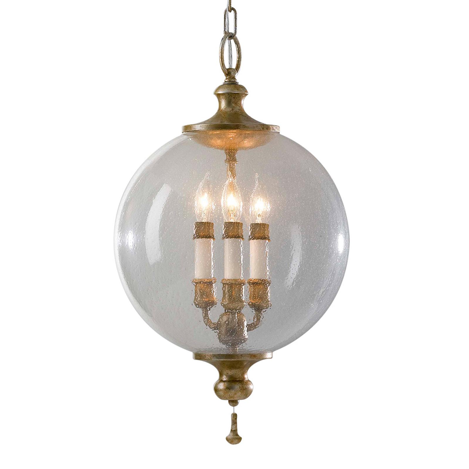 Lampada a sospensione Argento con sfera di vetro