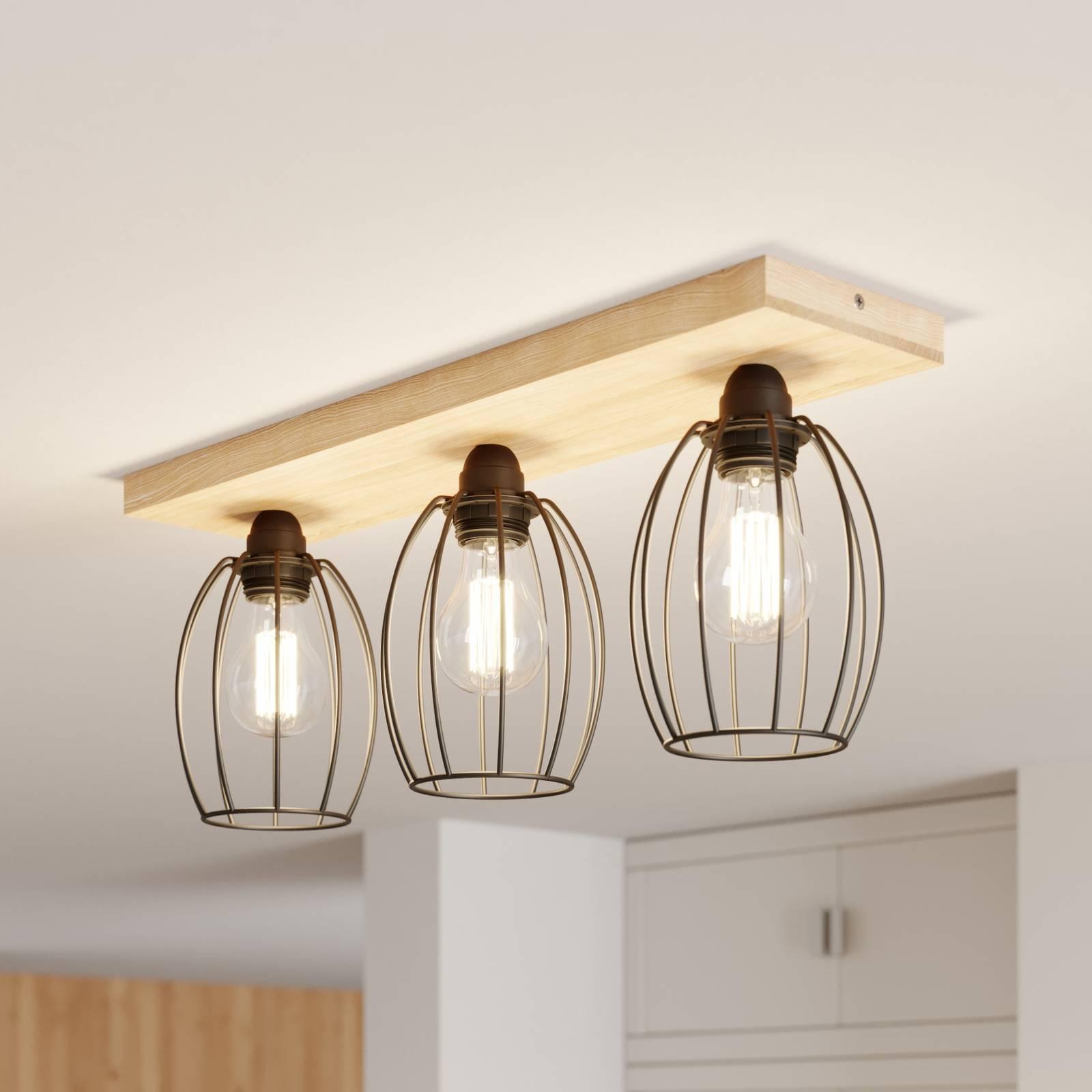 Plafondlamp Beevly, hout en metaal, 3-lamps