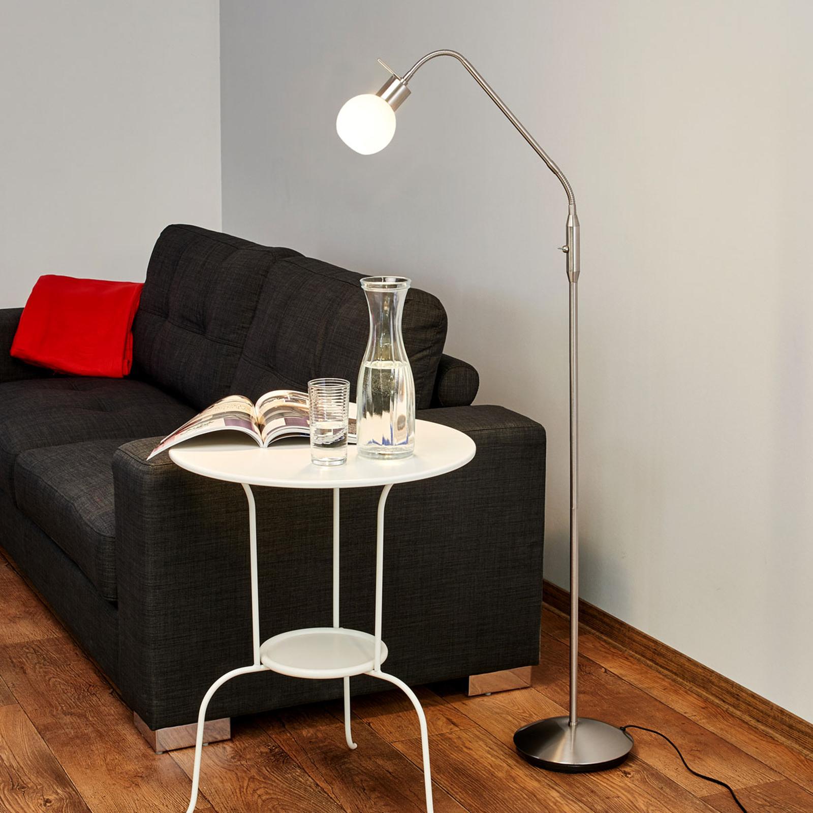 Tidløs LED-gulvlampe Elaina, matt nikkel