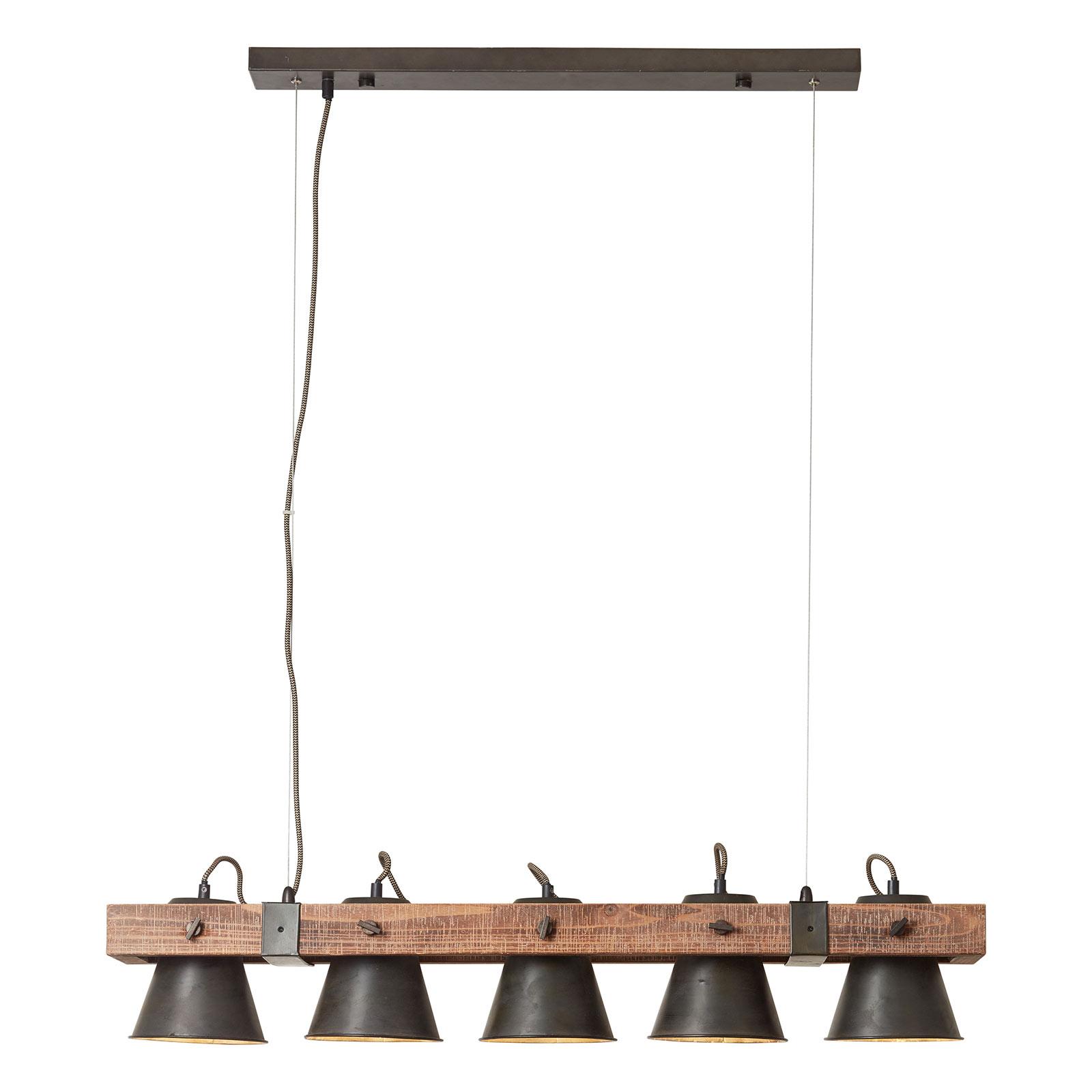 Lampa wisząca Plow 5-punktowa czarna/ciemne drewno