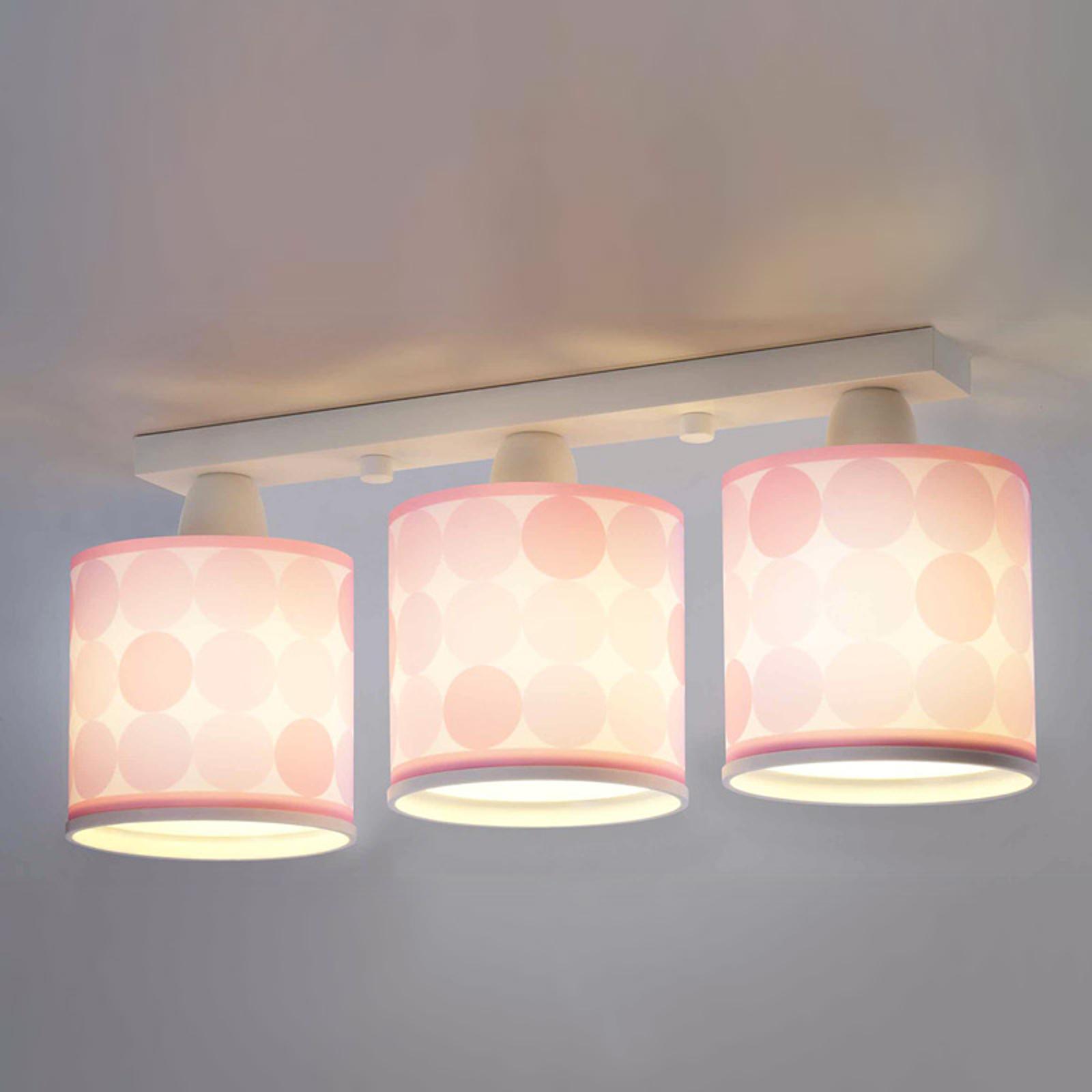 Lampa sufitowa Colors w kropki, różowa