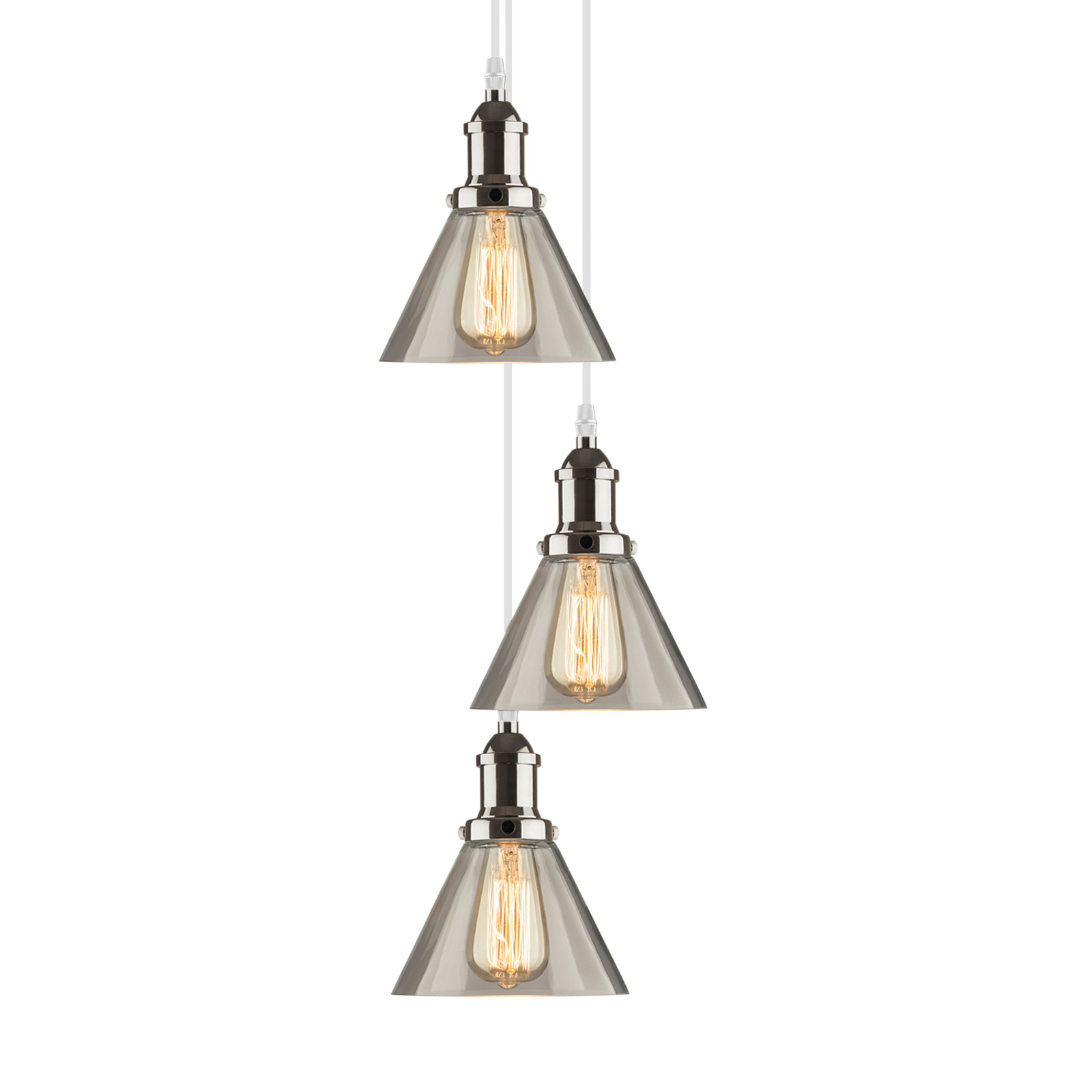 Hanglamp LA034 E27 3-lamps chroom/rookgrijs