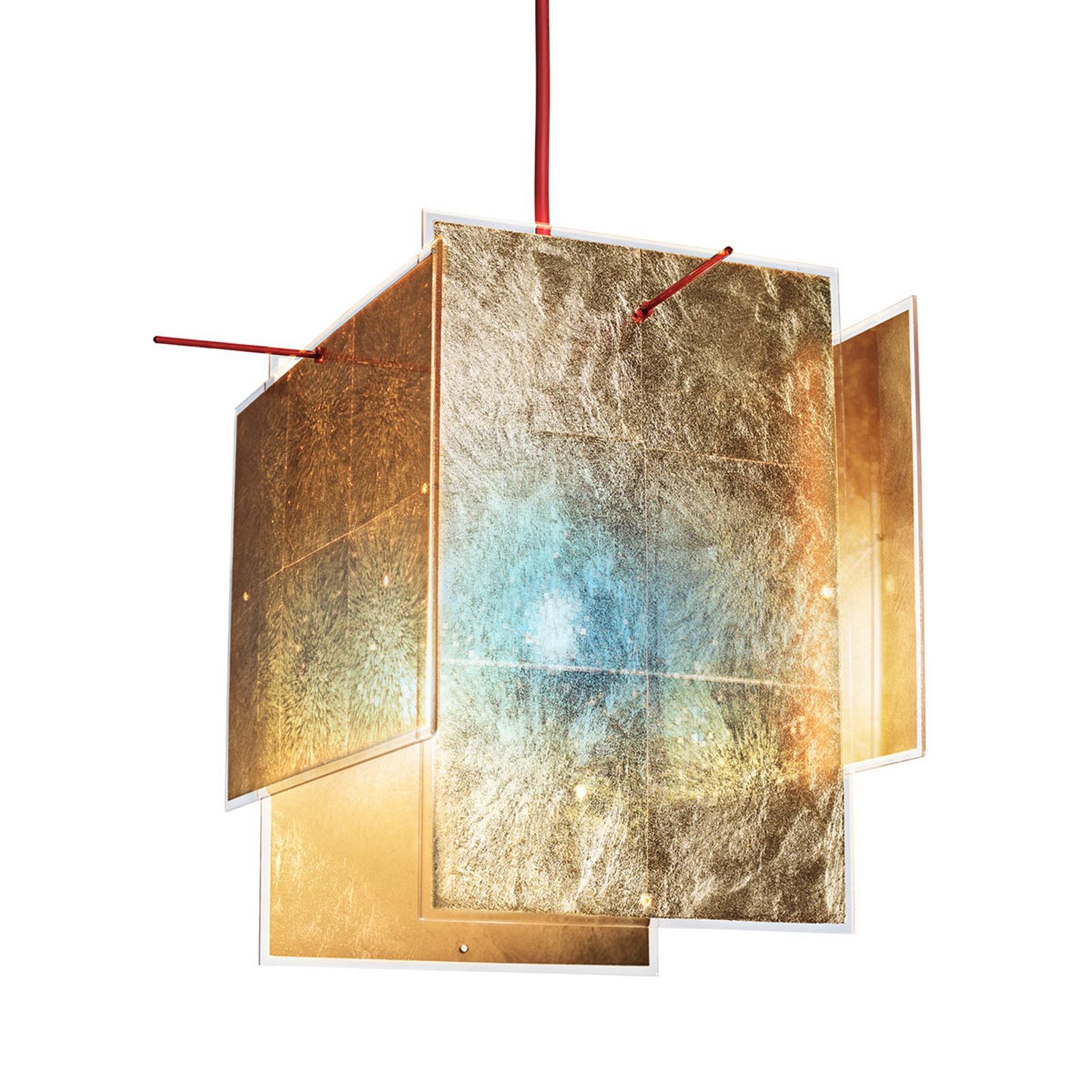 Złota lampa wisząca 24 Karat Blau 230 cm