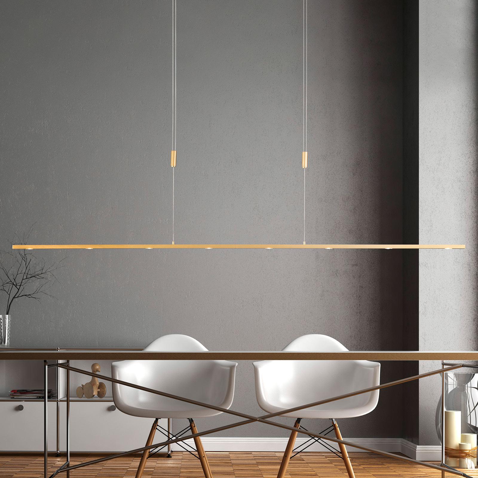 Lucande Tolu LED hanglamp, messing, 179 cm