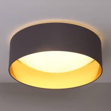 Stofftaklampe Coleen i grått, gyllen innside