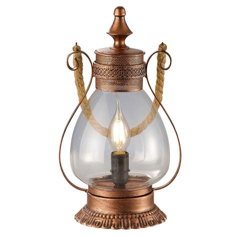 Koperkleurige tafellamp Linda met een antieke noot